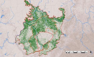 Map of forest density in the Bluegrass