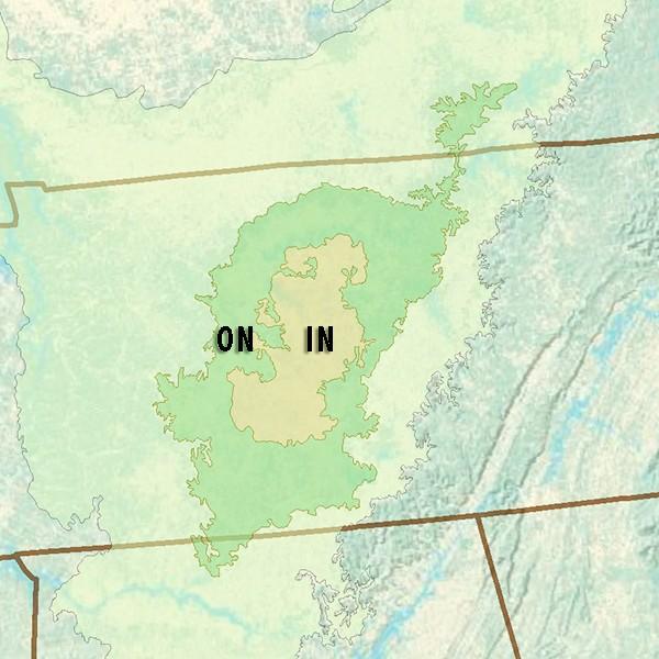 Ecoregions of the Nashville Basin. IN - Inner Basin, ON - Outer Basin